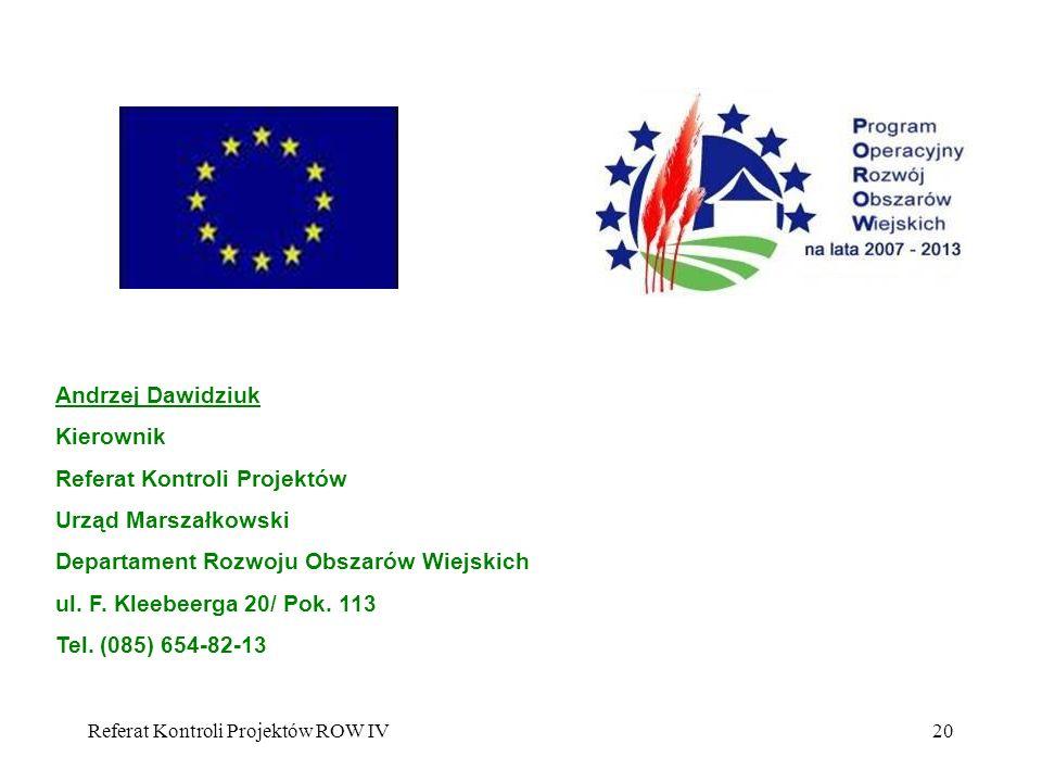 Referat Kontroli Projektów Urząd Marszałkowski