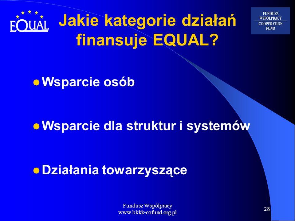 Jakie kategorie działań finansuje EQUAL