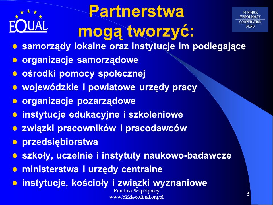Partnerstwa mogą tworzyć: