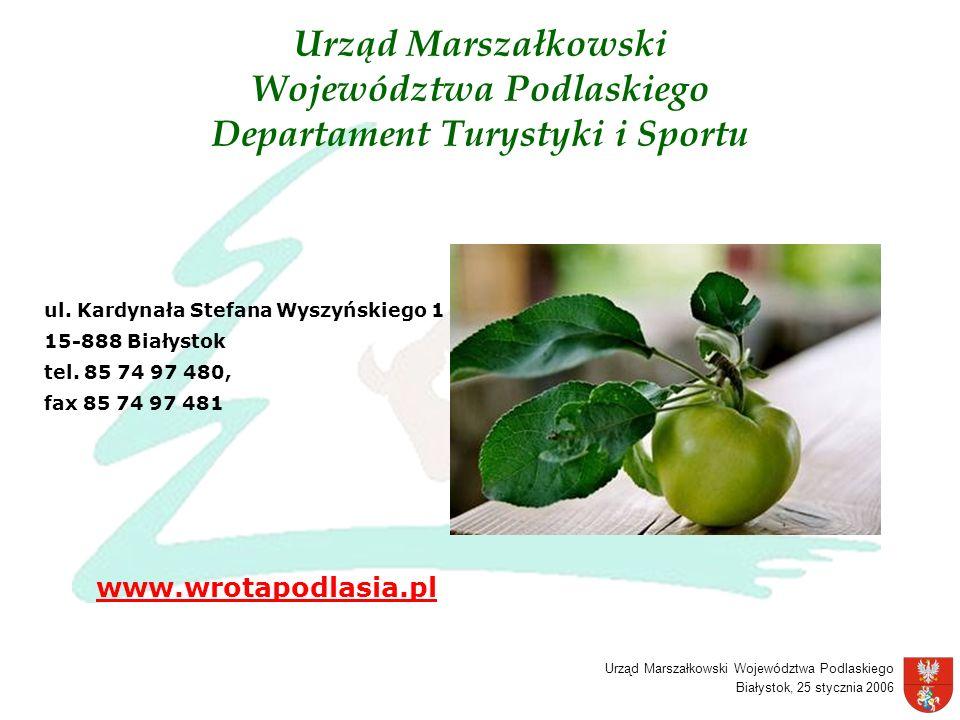 Urząd Marszałkowski Województwa Podlaskiego Departament Turystyki i Sportu