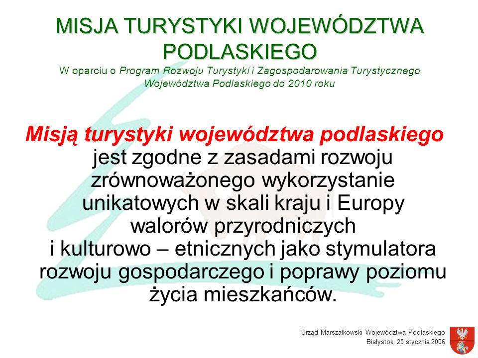MISJA TURYSTYKI WOJEWÓDZTWA PODLASKIEGO W oparciu o Program Rozwoju Turystyki i Zagospodarowania Turystycznego Województwa Podlaskiego do 2010 roku