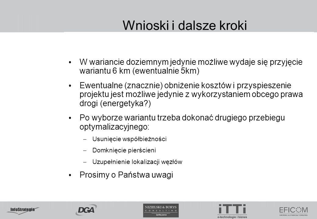 Wnioski i dalsze krokiW wariancie doziemnym jedynie możliwe wydaje się przyjęcie wariantu 6 km (ewentualnie 5km)