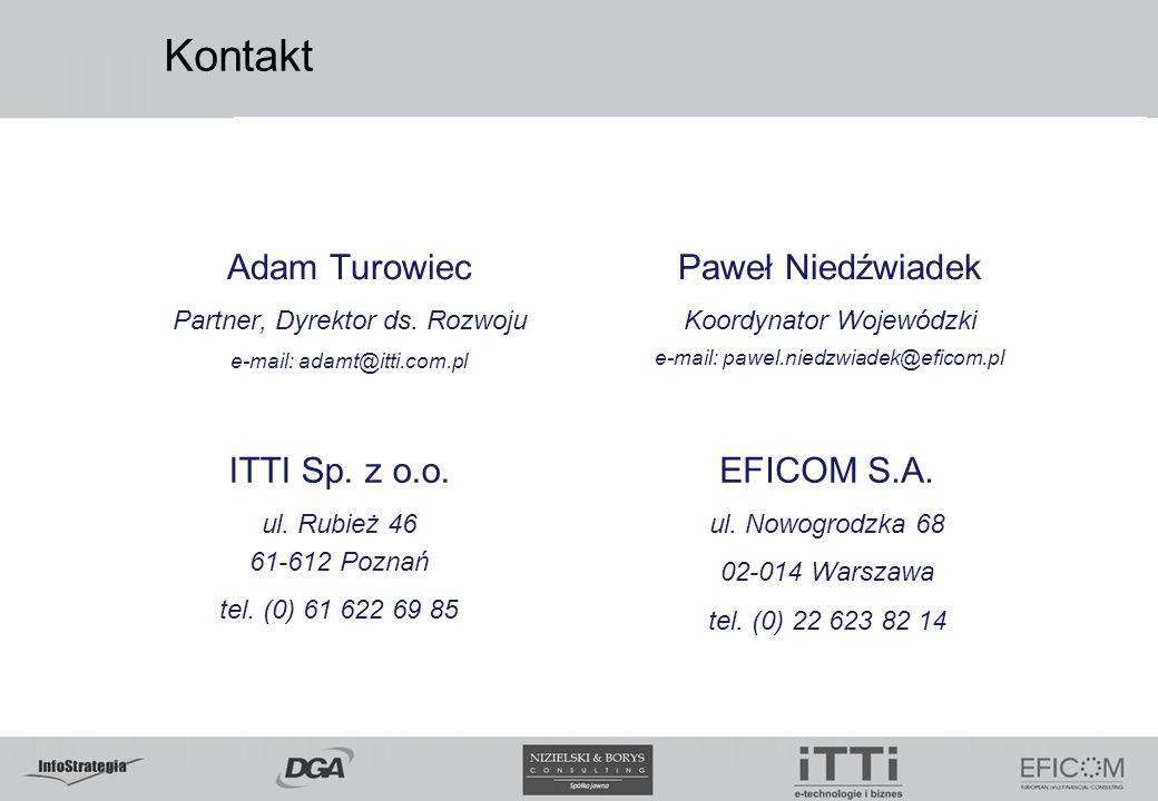 Kontakt Adam Turowiec Paweł Niedźwiadek ITTI Sp. z o.o. EFICOM S.A.