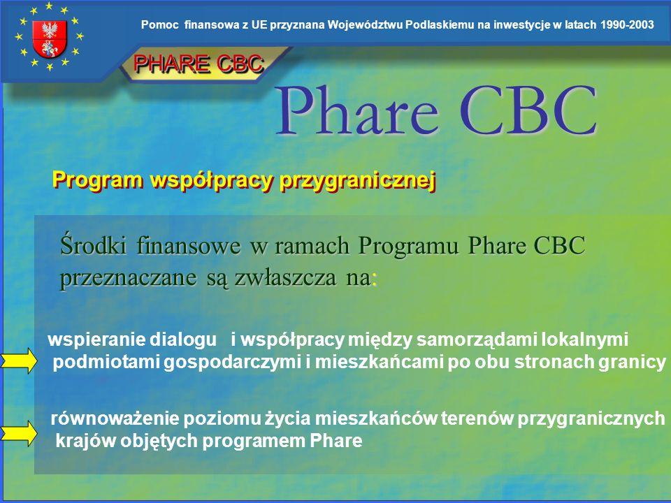PHARE CBC Phare CBC. Program współpracy przygranicznej. Środki finansowe w ramach Programu Phare CBC przeznaczane są zwłaszcza na:
