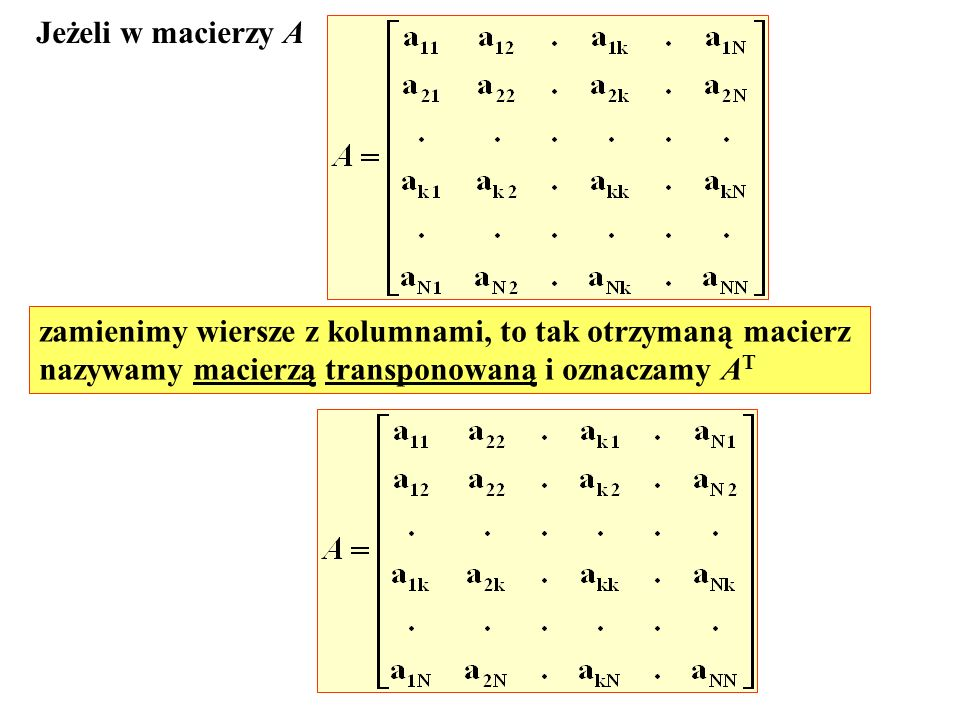 Jeżeli w macierzy A zamienimy wiersze z kolumnami, to tak otrzymaną macierz.