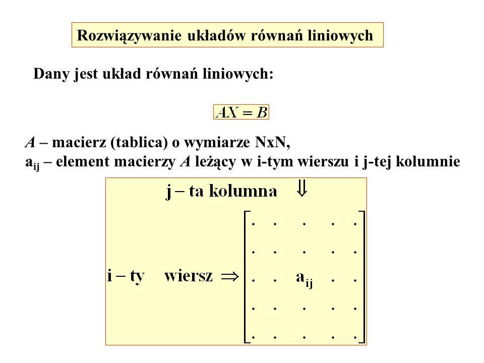 Rozwiązywanie układów równań liniowych