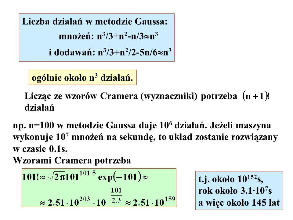 Liczba działań w metodzie Gaussa: