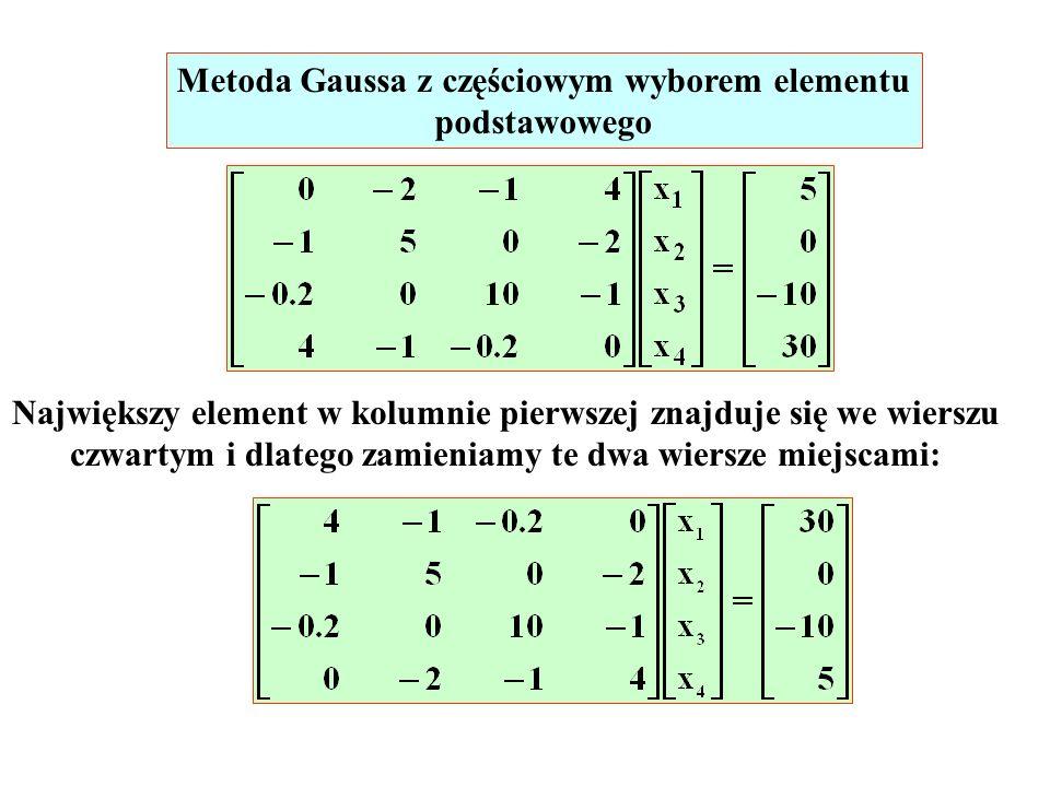 Metoda Gaussa z częściowym wyborem elementu podstawowego