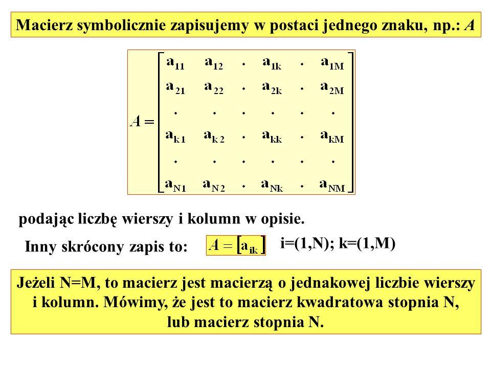 Macierz symbolicznie zapisujemy w postaci jednego znaku, np.: A