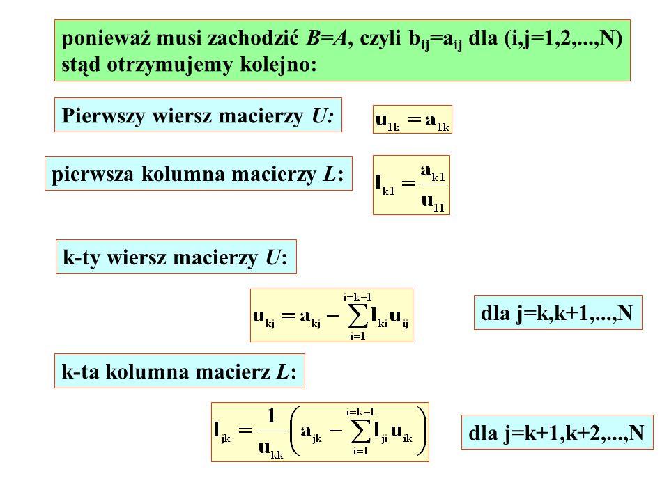 ponieważ musi zachodzić B=A, czyli bij=aij dla (i,j=1,2,...,N)