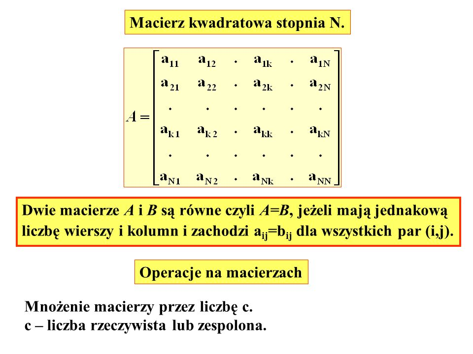 Macierz kwadratowa stopnia N.