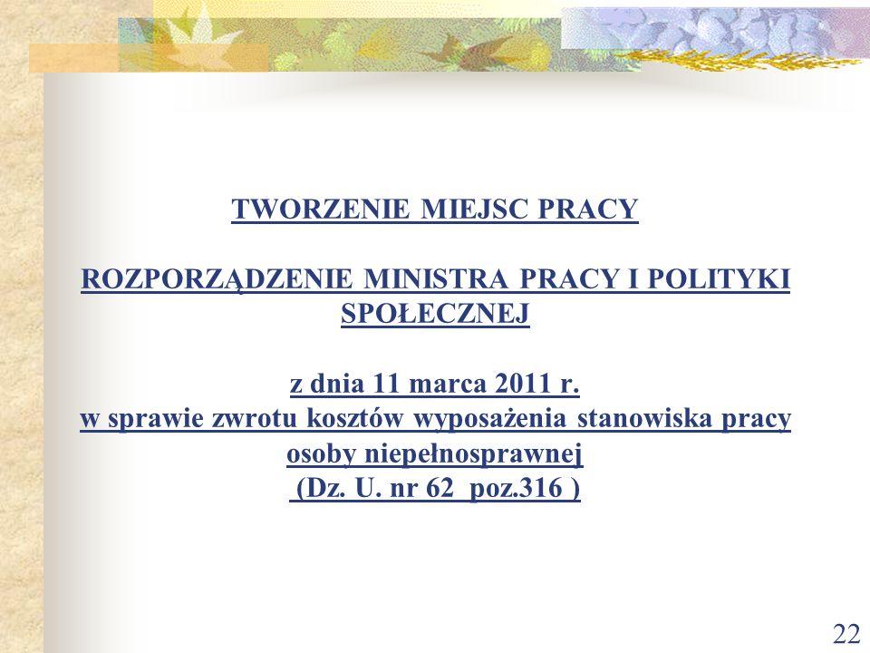TWORZENIE MIEJSC PRACY ROZPORZĄDZENIE MINISTRA PRACY I POLITYKI SPOŁECZNEJ z dnia 11 marca 2011 r.