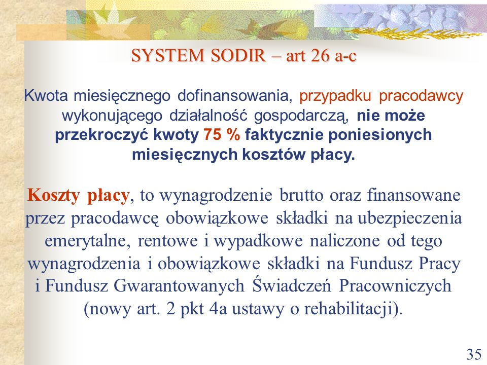 SYSTEM SODIR – art 26 a-c