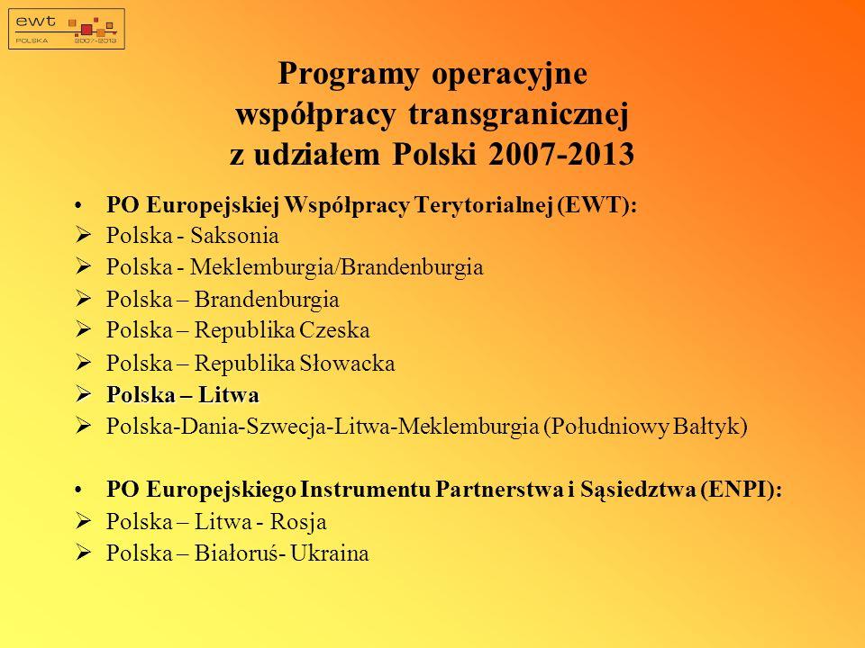 Programy operacyjne współpracy transgranicznej z udziałem Polski 2007-2013