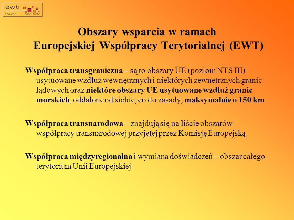 Obszary wsparcia w ramach Europejskiej Współpracy Terytorialnej (EWT)