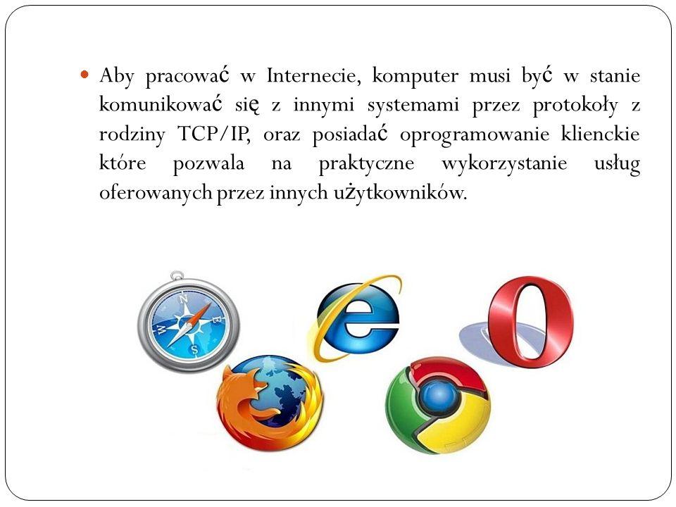 Aby pracować w Internecie, komputer musi być w stanie komunikować się z innymi systemami przez protokoły z rodziny TCP/IP, oraz posiadać oprogramowanie klienckie które pozwala na praktyczne wykorzystanie usług oferowanych przez innych użytkowników.