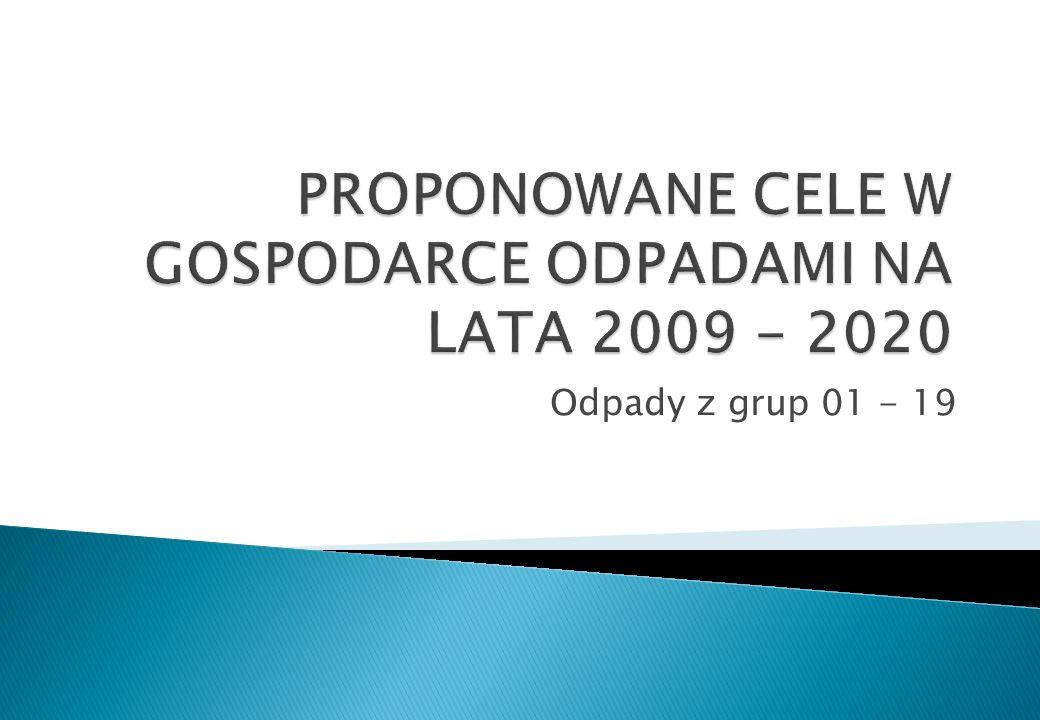 PROPONOWANE CELE W GOSPODARCE ODPADAMI NA LATA 2009 - 2020
