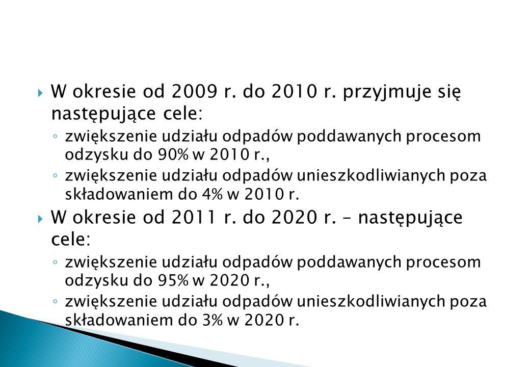 W okresie od 2009 r. do 2010 r. przyjmuje się następujące cele: