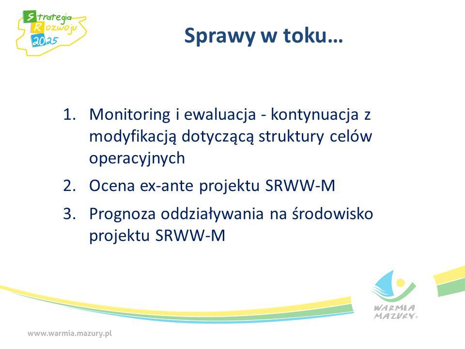 Sprawy w toku…Monitoring i ewaluacja - kontynuacja z modyfikacją dotyczącą struktury celów operacyjnych.