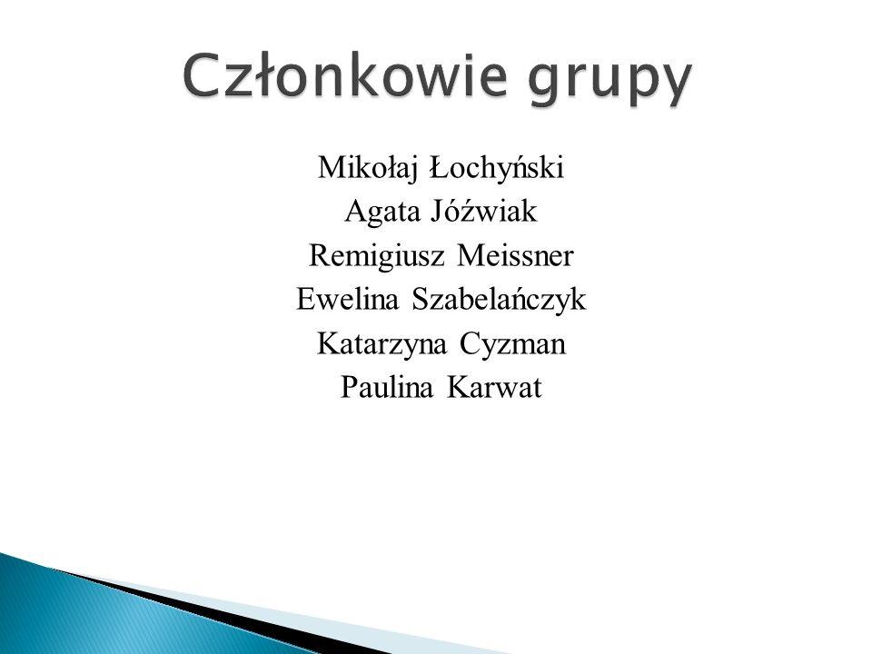 Członkowie grupy Mikołaj Łochyński Agata Jóźwiak Remigiusz Meissner Ewelina Szabelańczyk Katarzyna Cyzman Paulina Karwat