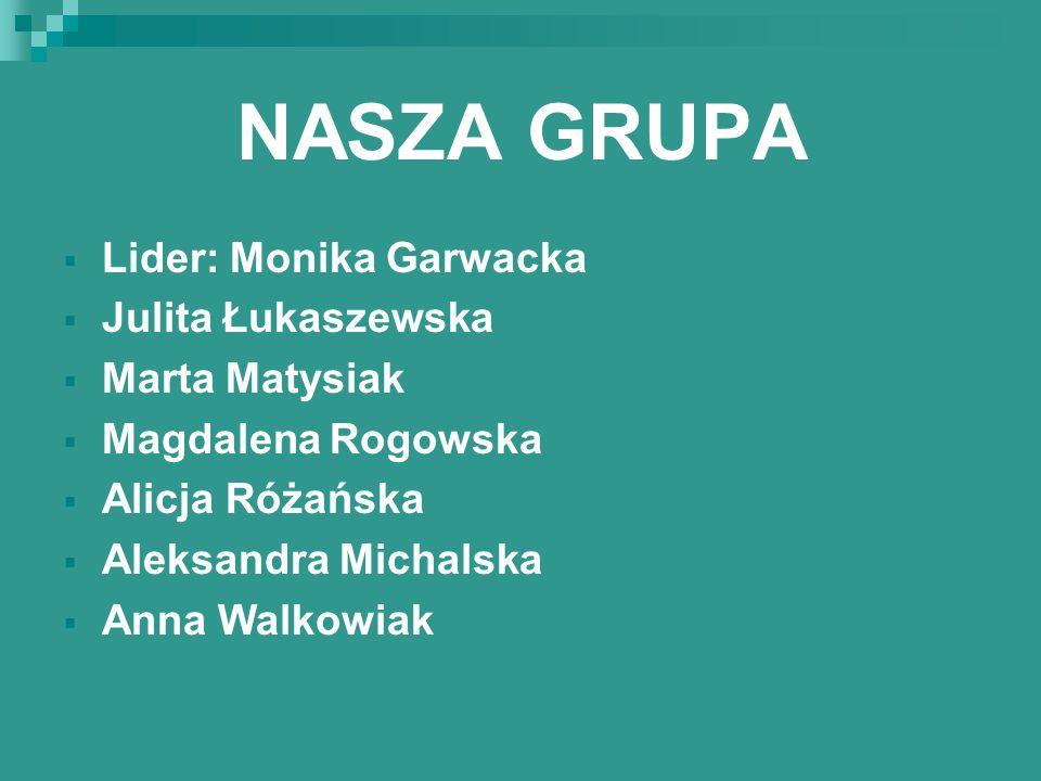 NASZA GRUPA Lider: Monika Garwacka Julita Łukaszewska Marta Matysiak
