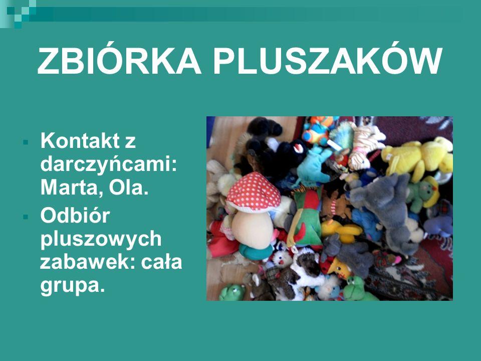 ZBIÓRKA PLUSZAKÓW Kontakt z darczyńcami: Marta, Ola.