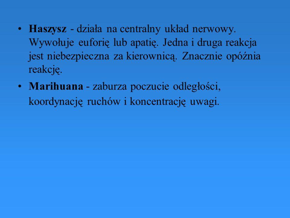 Haszysz - działa na centralny układ nerwowy