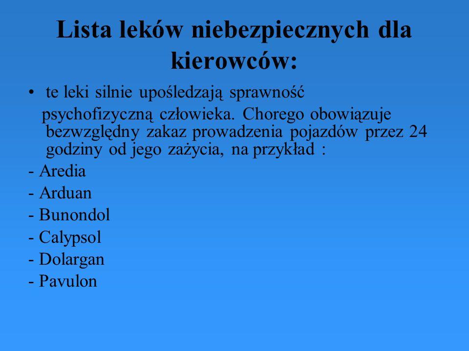 Lista leków niebezpiecznych dla kierowców: