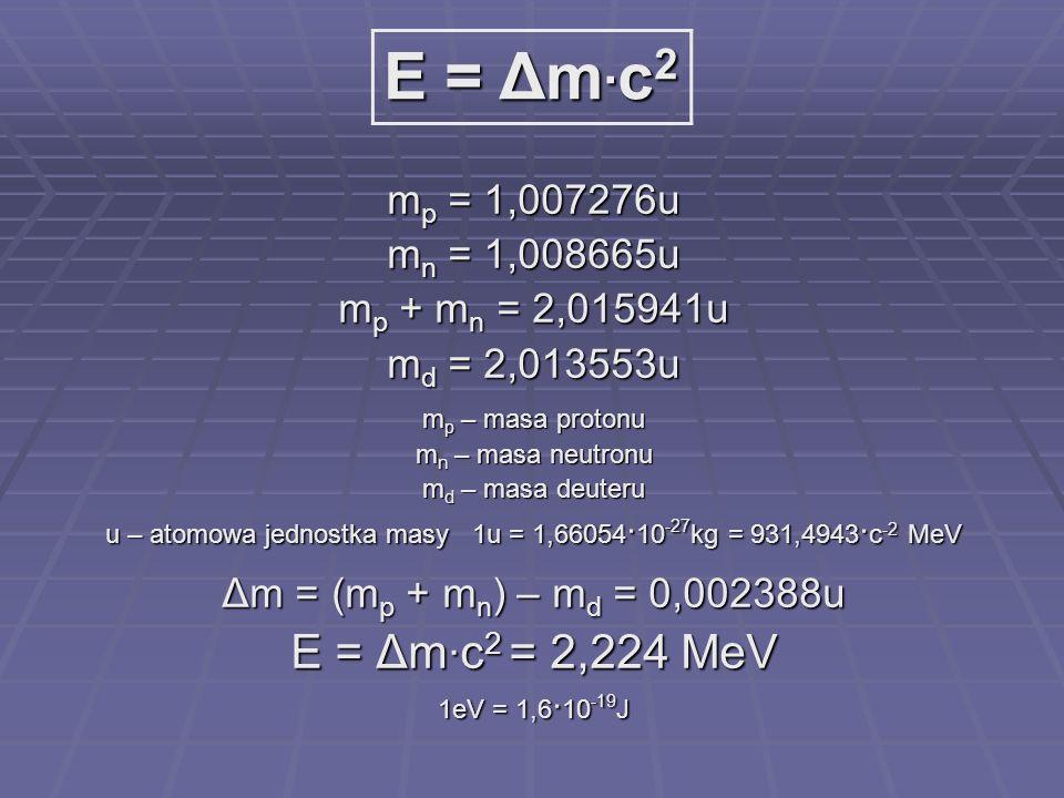 u – atomowa jednostka masy 1u = 1,66054.10-27kg = 931,4943.c-2 MeV