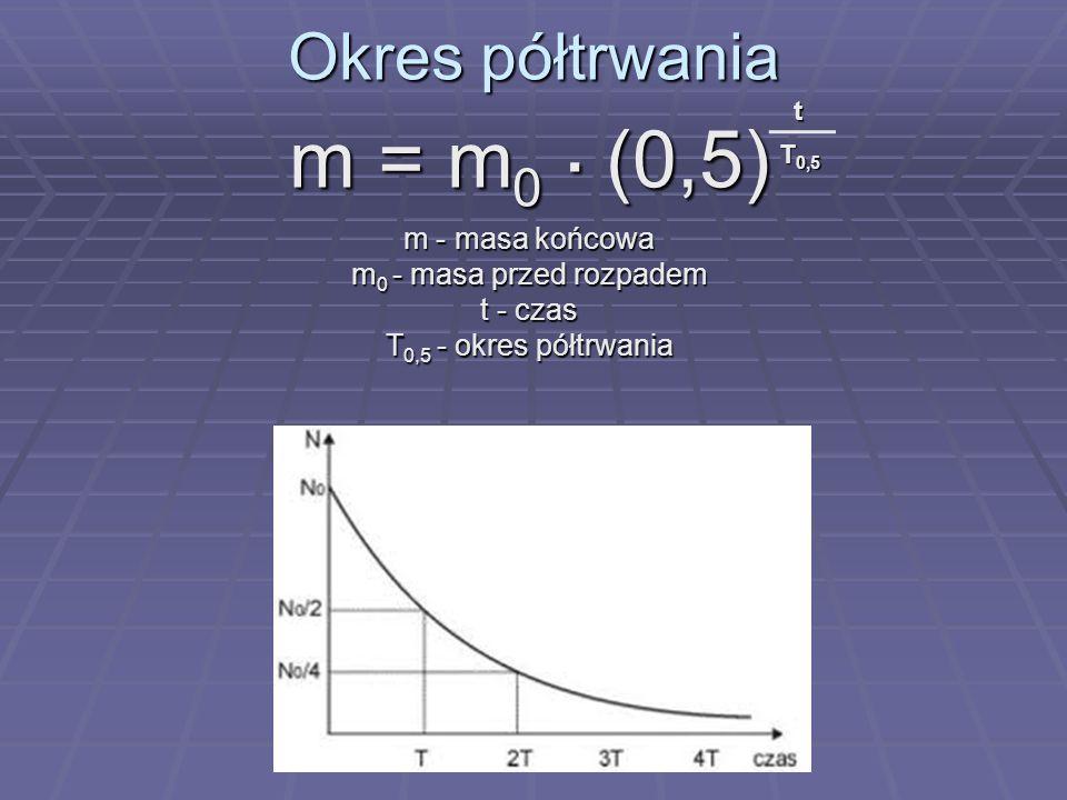m = m0 . (0,5) Okres półtrwania m - masa końcowa
