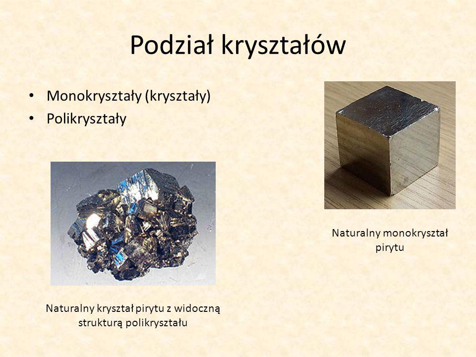Podział kryształów Monokryształy (kryształy) Polikryształy