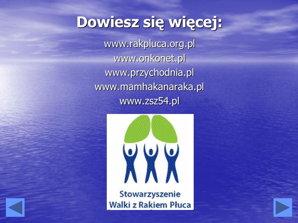 Dowiesz się więcej: www.rakpluca.org.pl www.onkonet.pl