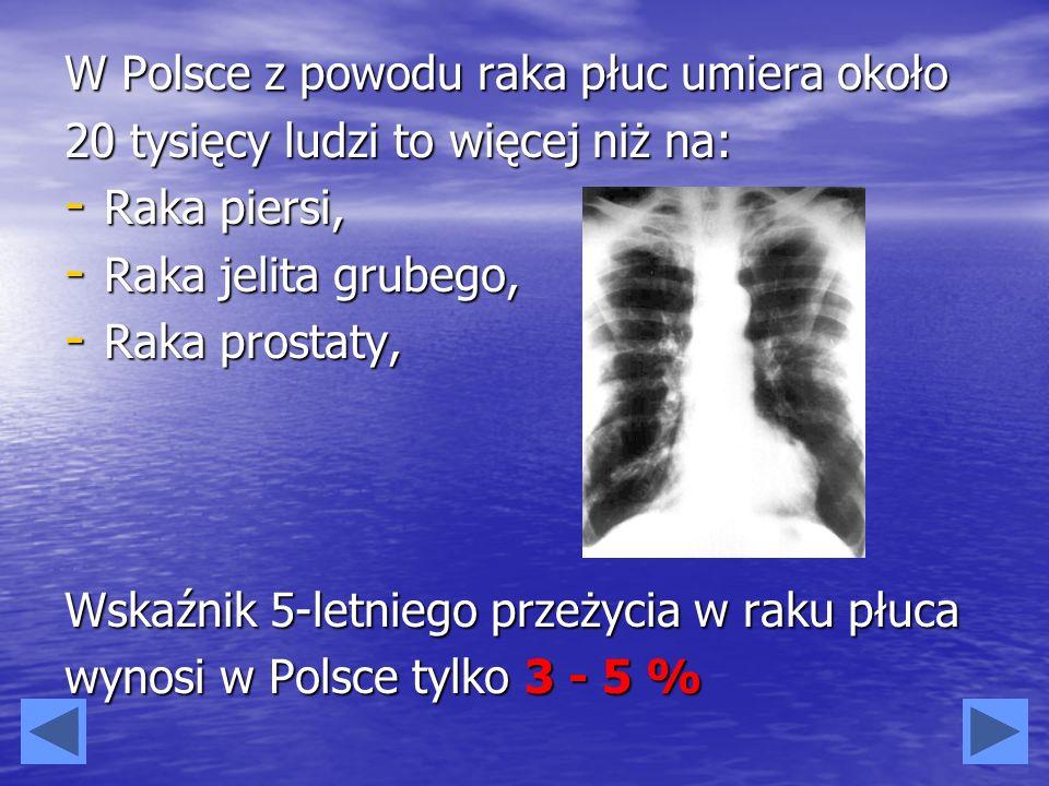 W Polsce z powodu raka płuc umiera około