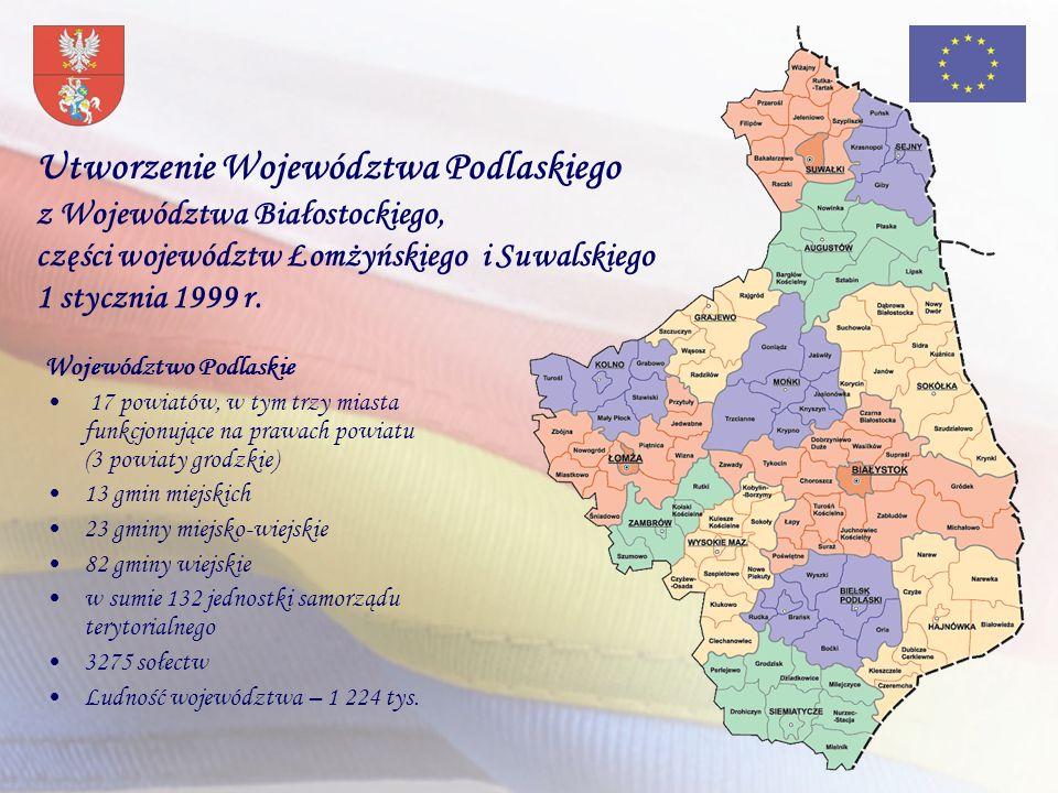 Utworzenie Województwa Podlaskiego z Województwa Białostockiego, części województw Łomżyńskiego i Suwalskiego 1 stycznia 1999 r.