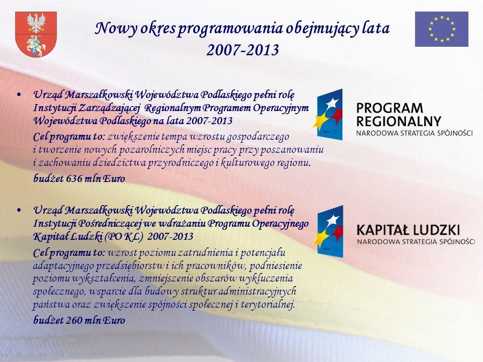 Nowy okres programowania obejmujący lata 2007-2013