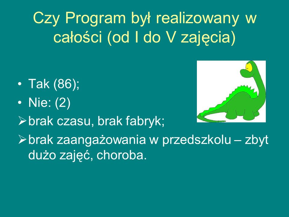 Czy Program był realizowany w całości (od I do V zajęcia)