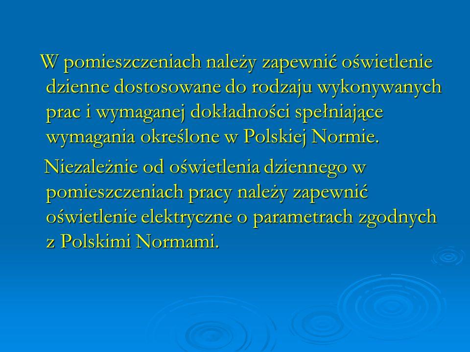 W pomieszczeniach należy zapewnić oświetlenie dzienne dostosowane do rodzaju wykonywanych prac i wymaganej dokładności spełniające wymagania określone w Polskiej Normie.