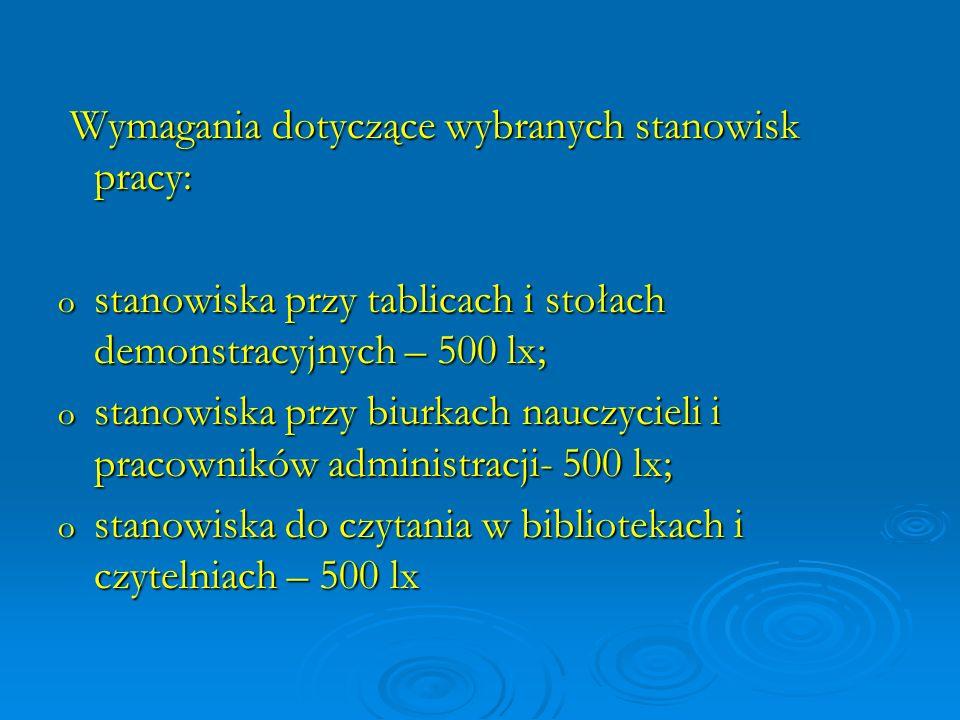 Wymagania dotyczące wybranych stanowisk pracy: