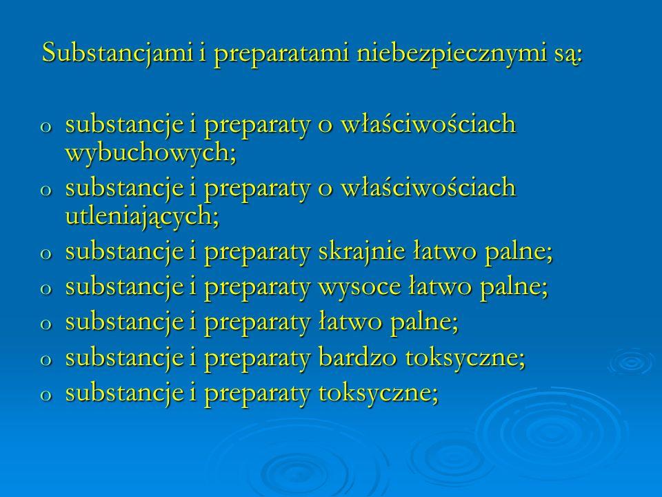 substancje i preparaty o właściwościach wybuchowych;