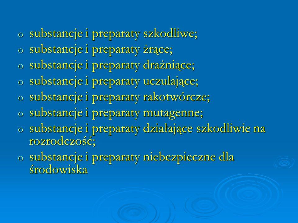 substancje i preparaty szkodliwe;