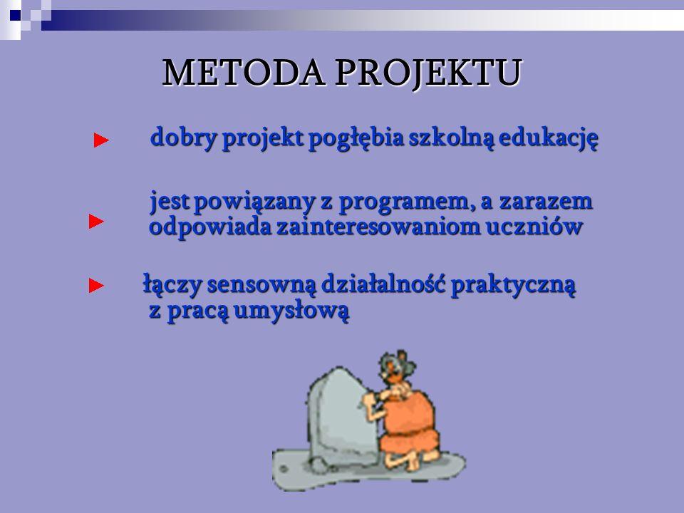 METODA PROJEKTU dobry projekt pogłębia szkolną edukację