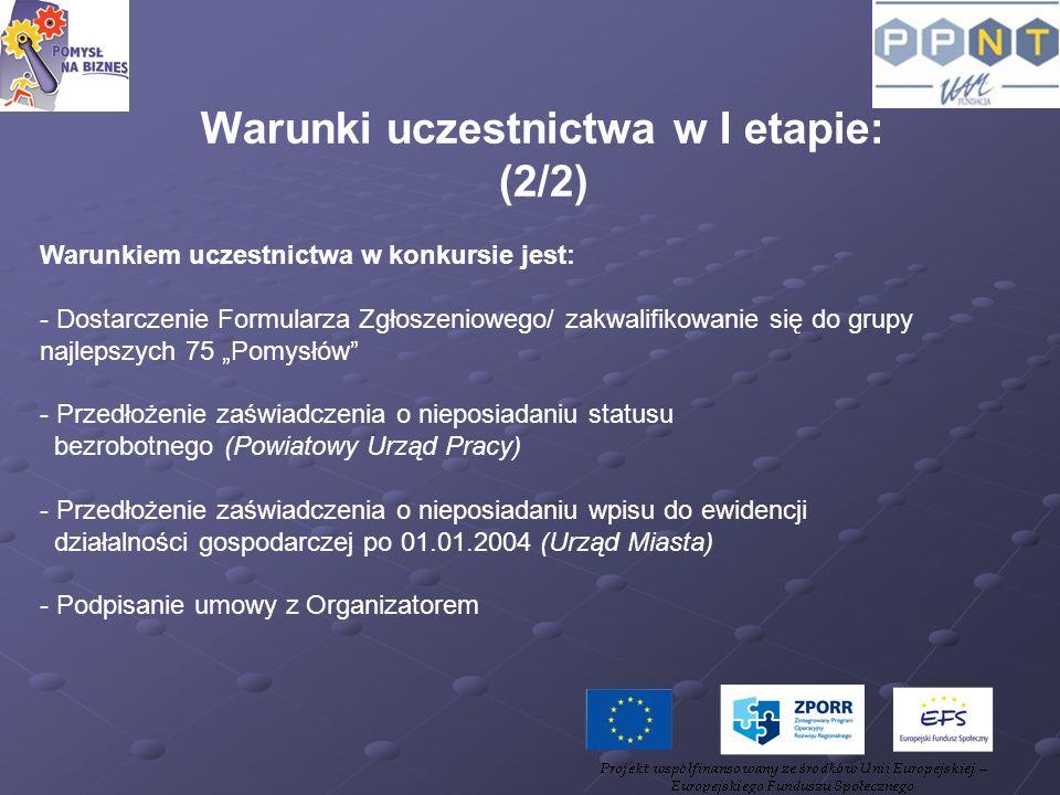 Warunki uczestnictwa w I etapie: