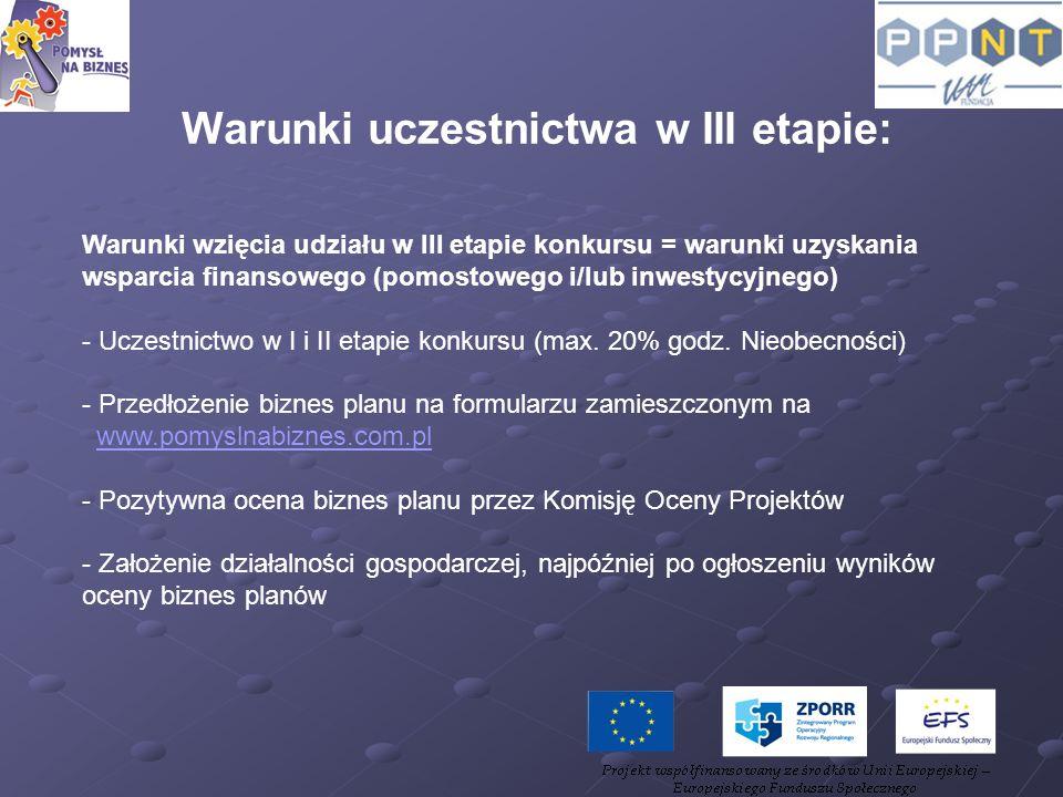 Warunki uczestnictwa w III etapie:
