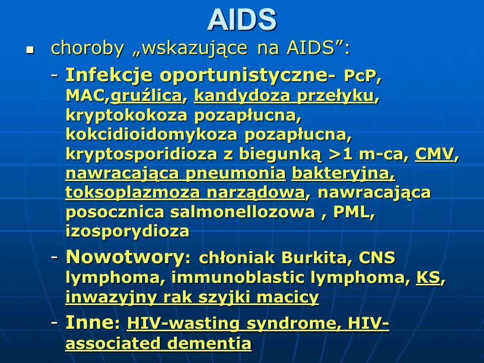 """AIDS choroby """"wskazujące na AIDS :"""