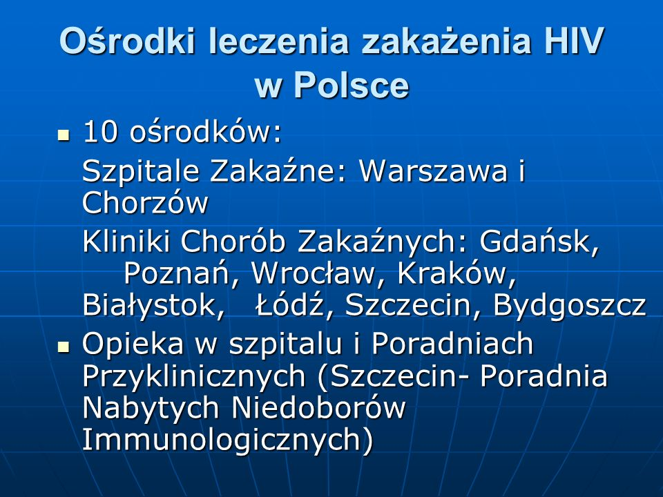 Ośrodki leczenia zakażenia HIV w Polsce