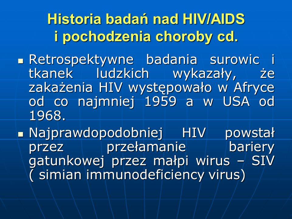 Historia badań nad HIV/AIDS i pochodzenia choroby cd.
