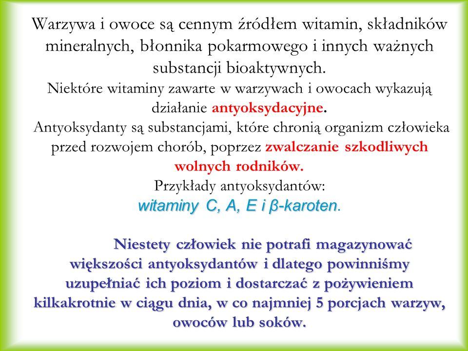 Warzywa i owoce są cennym źródłem witamin, składników mineralnych, błonnika pokarmowego i innych ważnych substancji bioaktywnych.
