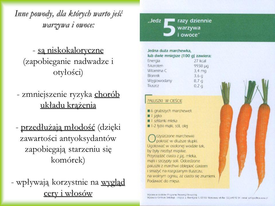 Inne powody, dla których warto jeść warzywa i owoce: - są niskokaloryczne (zapobieganie nadwadze i otyłości) - zmniejszenie ryzyka chorób układu krążenia - przedłużają młodość (dzięki zawartości antyoksydantów zapobiegają starzeniu się komórek) - wpływają korzystnie na wygląd cery i włosów