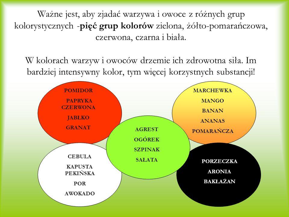 Ważne jest, aby zjadać warzywa i owoce z różnych grup kolorystycznych -pięć grup kolorów zielona, żółto-pomarańczowa, czerwona, czarna i biała. W kolorach warzyw i owoców drzemie ich zdrowotna siła. Im bardziej intensywny kolor, tym więcej korzystnych substancji!