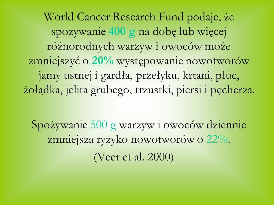 World Cancer Research Fund podaje, że spożywanie 400 g na dobę lub więcej różnorodnych warzyw i owoców może zmniejszyć o 20% występowanie nowotworów jamy ustnej i gardła, przełyku, krtani, płuc, żołądka, jelita grubego, trzustki, piersi i pęcherza.